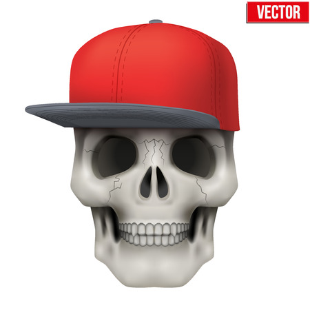 peak hat: Vector Human skull with rap cap on head. Illustration isolated on background Illustration