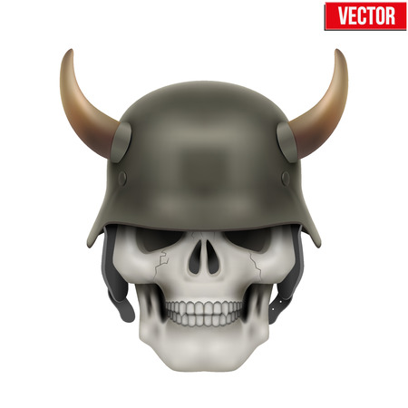 german fascist: Human skulls with German Army helmet and horns. Vector Illustration isolated on a white background Illustration