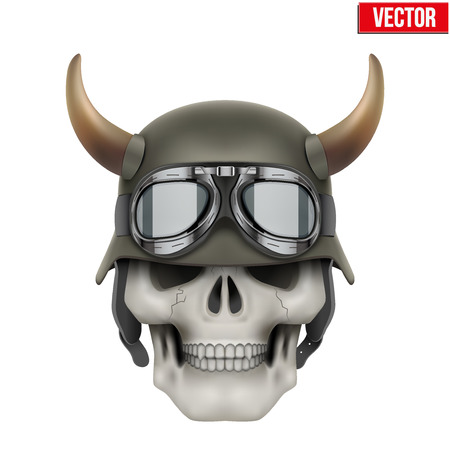 Human skulls with German Army helmet and horns. Vector Illustration isolated on a white background Illustration