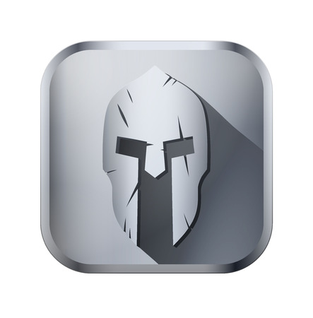 Square metal icon of Spartan helmet with scratches from shock. Vector Illustration isolated on background. Vector