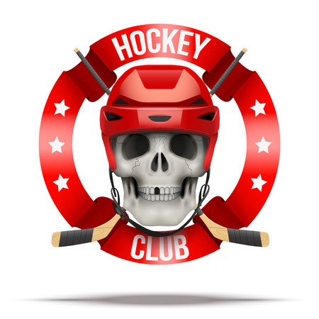 special forces: Ice hockkey club or team. Skull and hockey stick. Vector Illustration isolated on background.