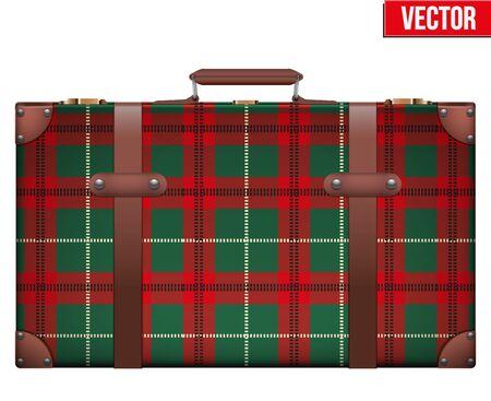 carting: Maleta del equipaje del vintage con Escocia Ver textura para viajar. Ilustraci�n del vector aislado en el fondo blanco. aislado.