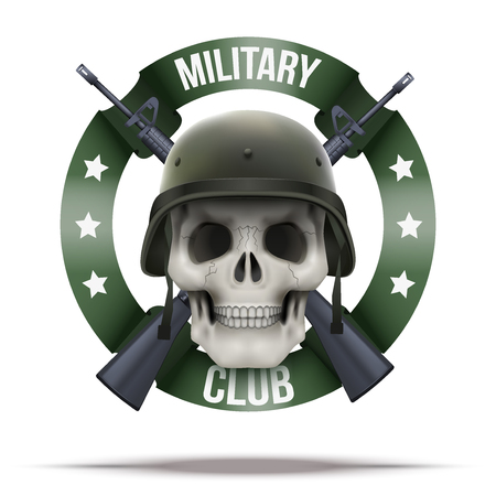 us air force: Military club or company badges and labels icon. Skull and M16 rifles. Vector Illustration isolated on background.