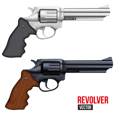 brigh: Set of Big Revolvers. Silver brigh and black gun metal. Vector Illustration isolated on white background.