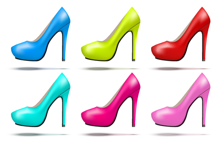 Set of bright modern high heels pump woman shoes. Vector Illustration isolated on white background.
