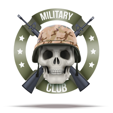 military invasion: Military club or company badges and labels logo. Skull and M16 rifles. Vector Illustration isolated on background.