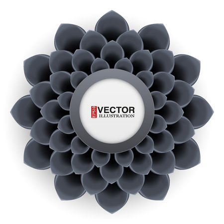 greeting card background: Greeting card or background with black flower. Vector Illustration isolated on white background.