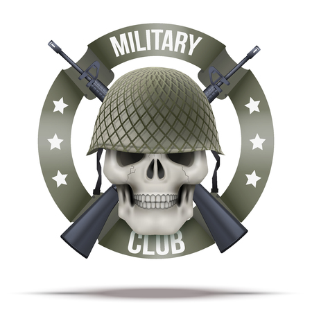 us air force: Military club or company badges  Skull and M16 rifles. Vector Illustration isolated on background.