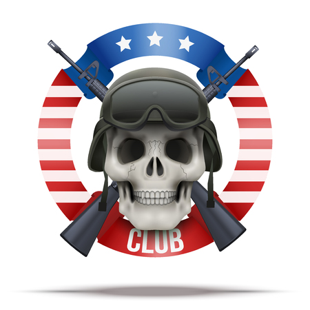 m16: American Military club or company badges. Skull and M16 rifles. Vector Illustration isolated on background.