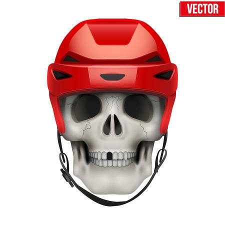 Vector Human skull with ice hockey helmet. Illustration on isolated white background