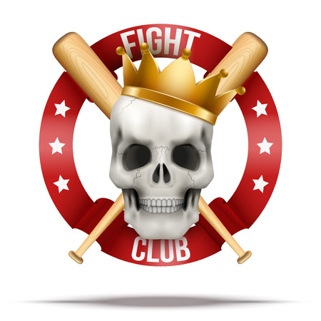 skull with crown: Fight club or team. Skull with crown and wood bats. Vector Illustration isolated on background.