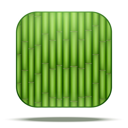 vegetate: Green Bamboo Square Icon. Vector Illustration isolated on white background. Illustration