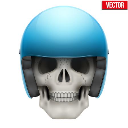 edeff52973f39c  40335164 - Menselijke schedel met retro motorrijder helm. Vector  Illustratie op een witte achtergrond