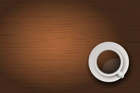 Top view of cup of coffee or tea on the table dark wood with space for text