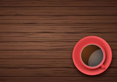 Top view of red cup of coffee or tea on the table dark wood with space for text