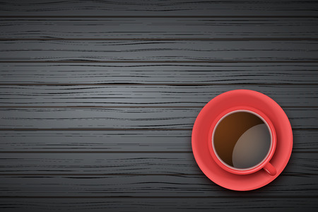 Top view of red cup of coffee or tea on the table black wood with space for text
