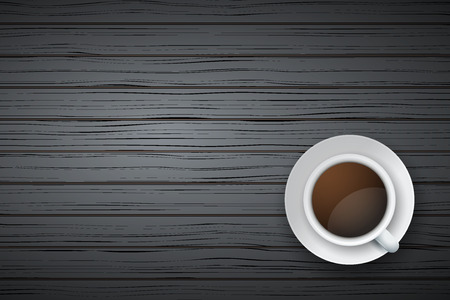 Top view of cup of coffee or tea on the table black wood with space for text Illustration