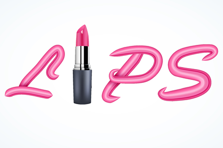 gloss: Inscription Lips of lipstick. Vector Illustration isolated on white background. Illustration