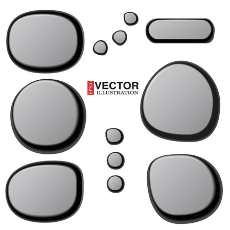 zen vector: Vector Collections of Different Spa Stones. Zen pebbles. Vector Illustration isolated on white background. Illustration