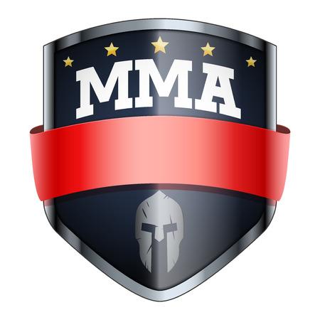 escudo: MMA Fights escudo insignia. El símbolo del club deportivo o equipo. Ilustración del vector aislado en el fondo blanco. Vectores