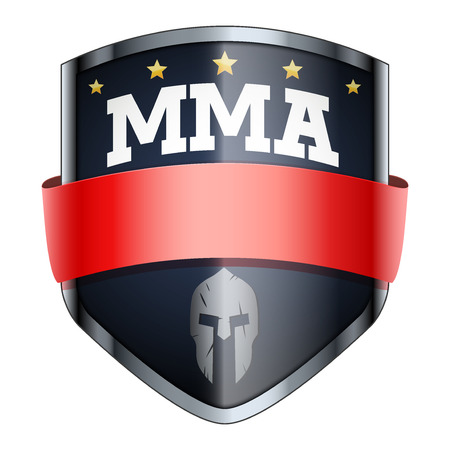 MMA Fights Shield badge. The symbol of the sports club or team. Vector Illustration isolated on white background.