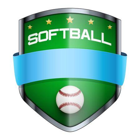 softbol: Insignia de Softbol Shield. El s�mbolo del club deportivo o equipo. Ilustraci�n del vector aislado en el fondo blanco.