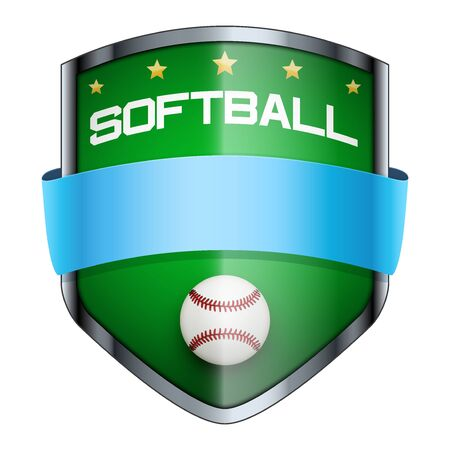softball: Softball Shield badge. The symbol of the sports club or team. Vector Illustration isolated on white background.