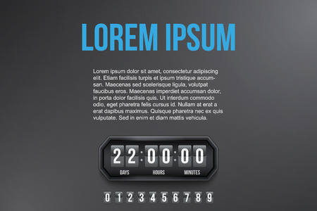 Background Coming Soon and countdown timer with digit samples. Vector Illustration isolated on white background.