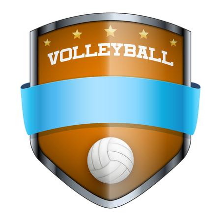 voleibol: Insignia Voleibol Shield. El símbolo del club deportivo o equipo. Ilustración del vector aislado en el fondo blanco.
