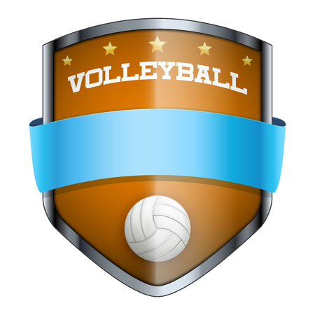 Volleyball Shield badge. The symbol of the sports club or team. Vector Illustration isolated on white background. Vector
