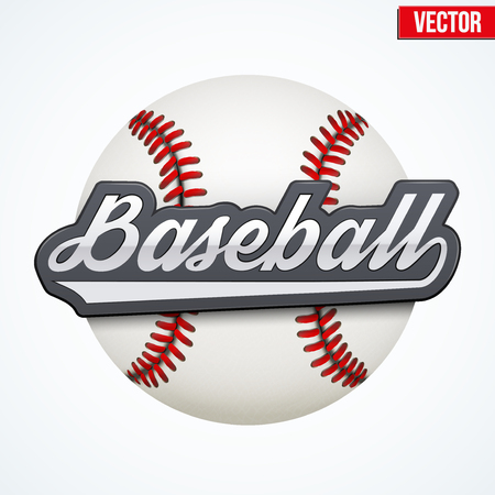 softball player: Premium Baseball label. Symbol of sport or club. Vector Illustration isolated on white background.