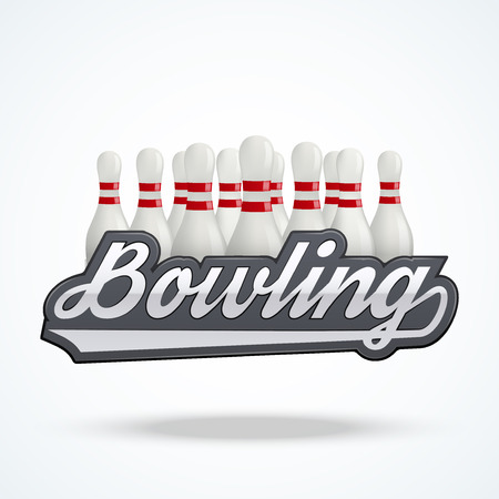 bowling sport: Premium Bowling labels. Symbol of bowling alley. Vector Illustration isolated on white background.