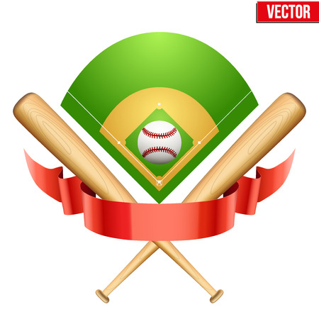 softball: Vector illustration of baseball leather ball and wooden bats on field. Symbol of sports. Isolated on white background.