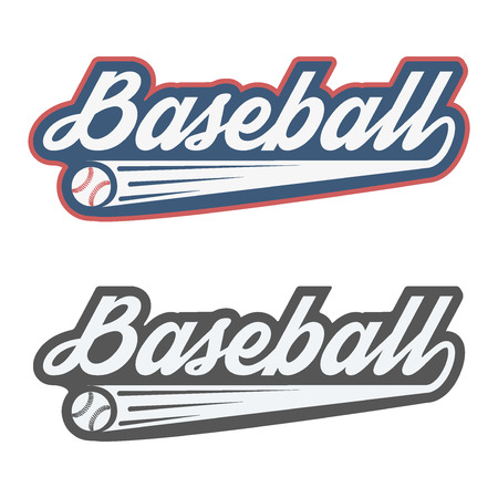 softball: Vintage baseball label and badge. Vector Illustration isolated on white background.