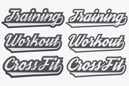 elite sport: Tags Training Workout CrossFit in sports style. Realistic and flat style. Realistic and flat style. Vector Illustration on isolated white background.
