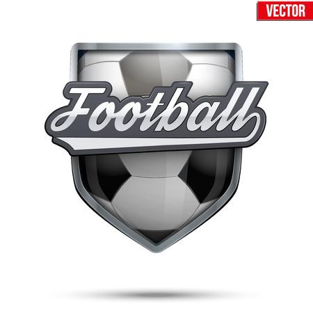 balones deportivos: Símbolo de primera calidad de la etiqueta de Fútbol. Símbolo del deporte o club. Ilustración del vector aislado en el fondo blanco.