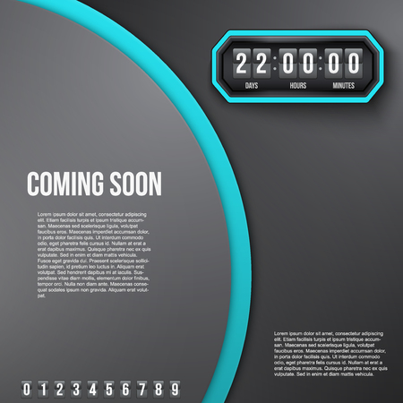 remaining: Creative Background Coming Soon and countdown timer with digit samples. Vector Illustration isolated on white background.