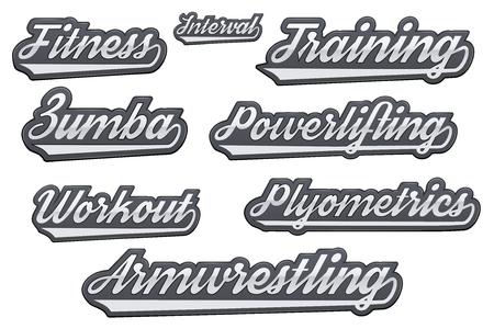 zumba: Etiquetas de deportes populares gimnasio. Estilo moderno. Ilustración vectorial sobre fondo blanco aislado.