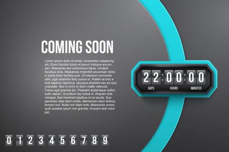 Creatieve achtergrond Coming Soon en countdown timer met cijfers monsters. Vector illustratie op een witte achtergrond.