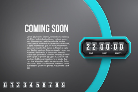 on coming: Creative Background Coming Soon and countdown timer with digit samples. Vector Illustration isolated on white background.