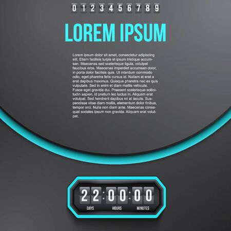 indicator board: Creative Background Coming Soon and countdown timer with digit samples. Vector Illustration isolated on white background.