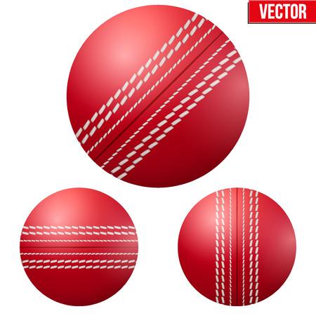 従来の光沢のある赤いクリケットのボール。分離の白い背景の上のベクトル図。