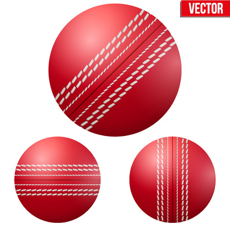 Traditional shiny red cricket ball. Vector Illustration on isolated white background. 일러스트