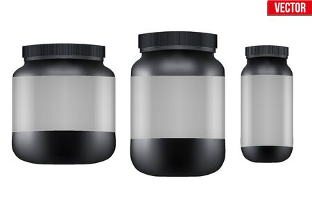 gainer: Mockup Sport Nutrition Container. Black Plastic Whey Protein and Gainer. Vector Illustration isolated on white background Illustration