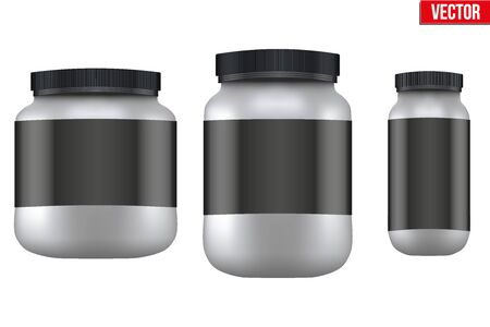 gainer: Mockup Sport Nutrition Container. Silver Plastic Whey Protein and Gainer. Vector Illustration isolated on white background Illustration