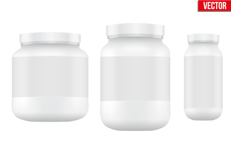 Mockup Sport Nutrition Container. White Plastic Whey Protein and Gainer. Vector Illustration isolated on white background Illustration
