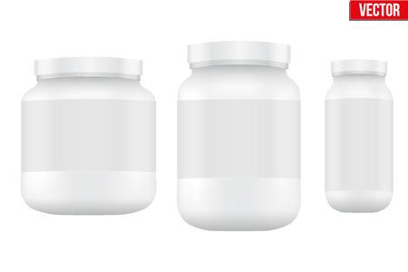 Mockup Sport Nutrition Container. Weiße Kunststoff-Whey Protein und Gainer. Vector Illustration isoliert auf weißem Hintergrund Standard-Bild - 41709490