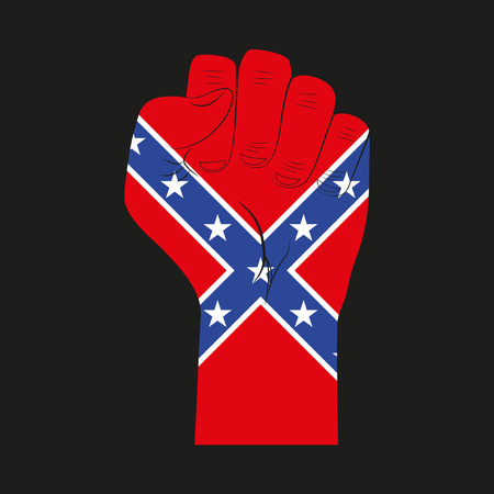 homeland: Symbol clenched fist held in protest with Confederate flag.