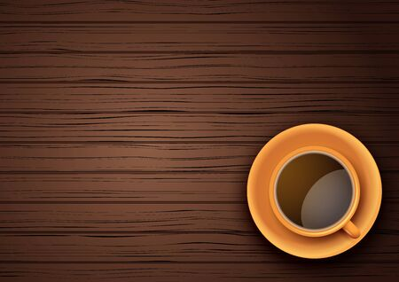 Top view of Orange cup of coffee or tea on the table dark wood with space for text