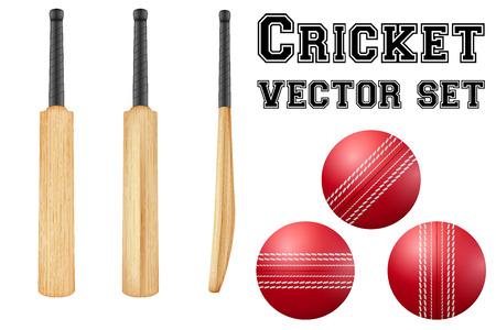 pelota: Conjunto de palos de cricket tradicionales de madera y pelotas.